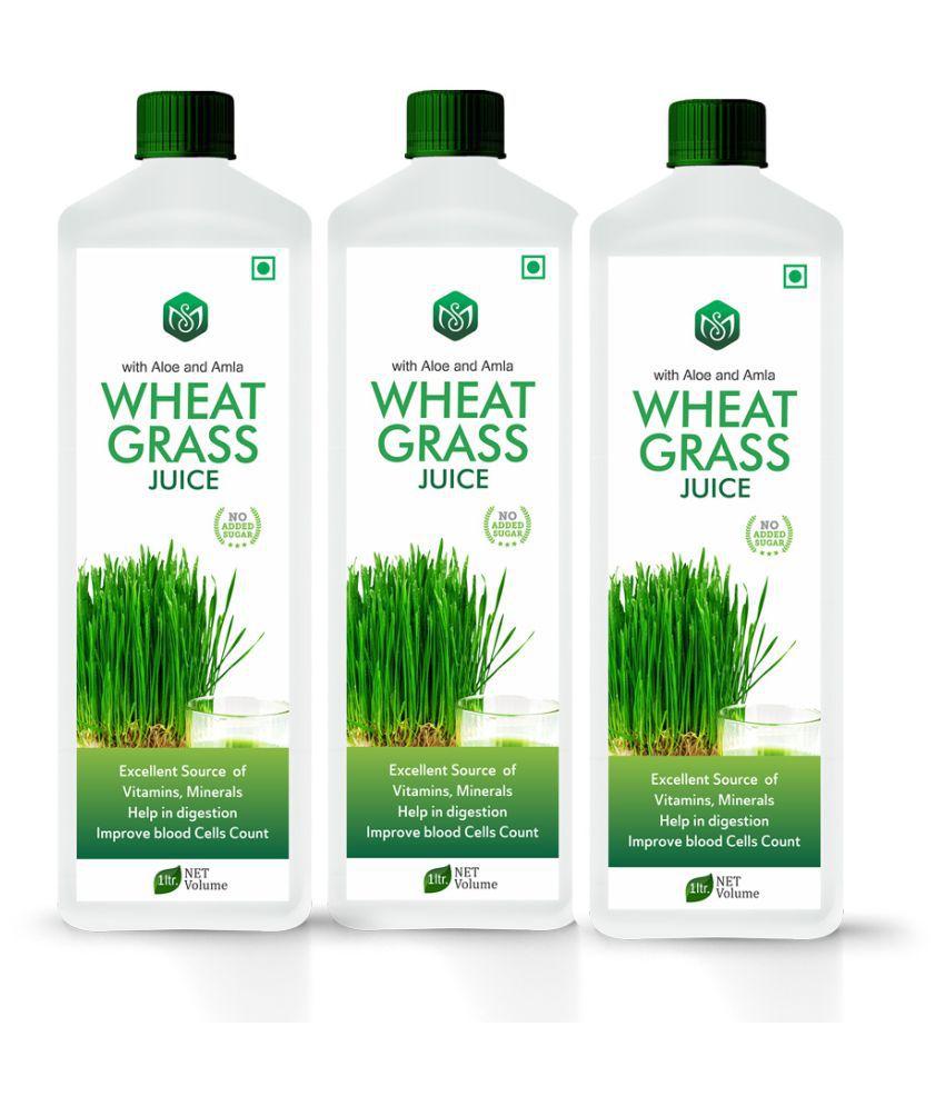 Scorlife Wheatgrass Juice Sugar Free [Pack of 3] Health Drink 1000 ml