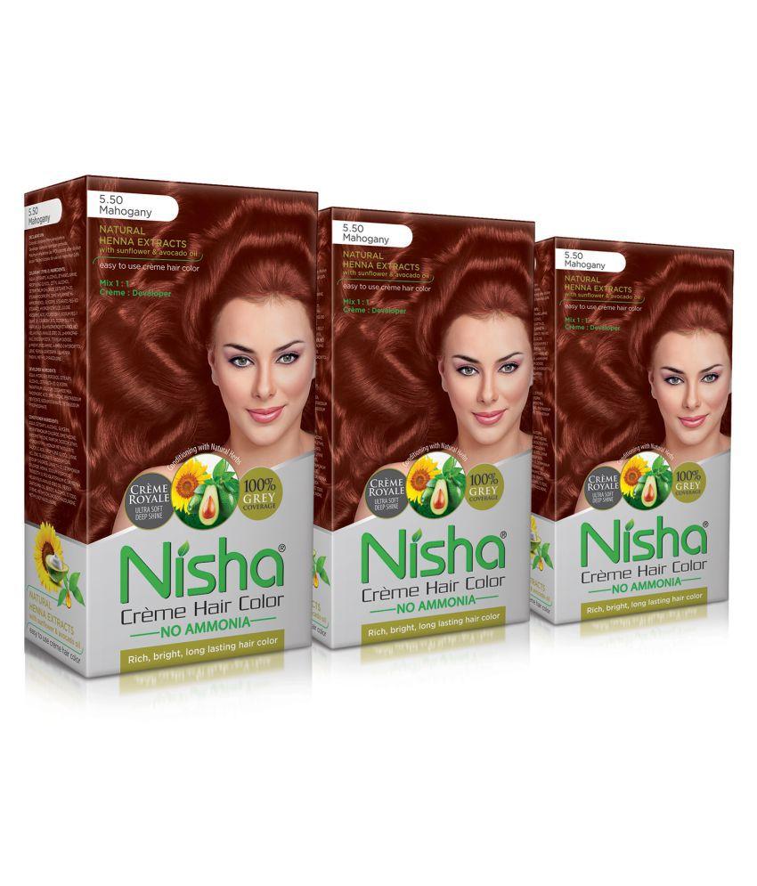 Nisha Mahogany 5.5 (60gm, 60ml, 12ml) Cream Permanent Hair Color Mahogany Mahogany 5.5 120 mL Pack of 3