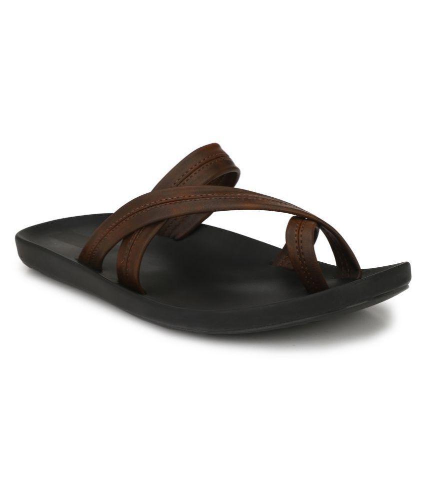 Leeport Brown Leather Slippers