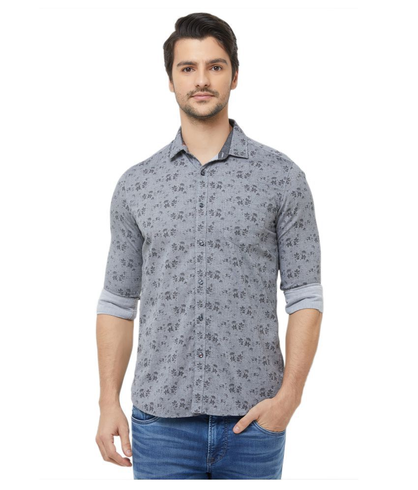 Killer 100 Percent Cotton Grey Prints Shirt