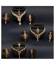 Sukkhi Zinc Golden Contemporary Gold Plated Necklace set Combo
