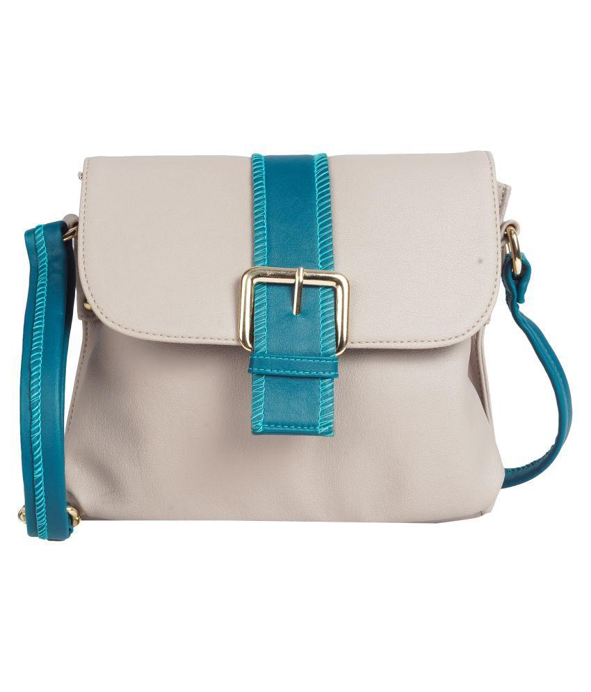 Karkhaana Light Gray Artificial Leather Sling Bag