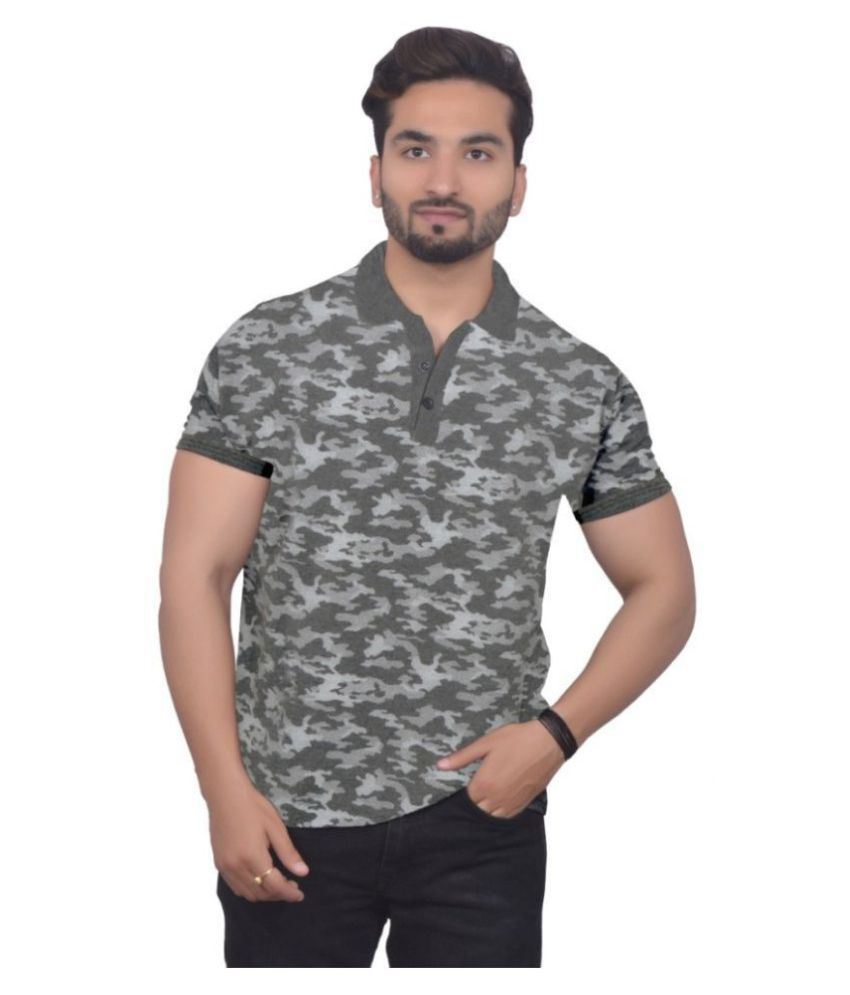 Emerge Cotton Blend Grey Printed T-Shirt