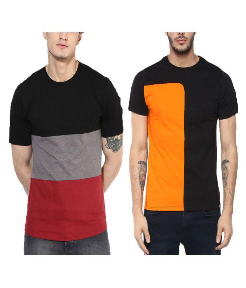 Veirdo 100 Percent Cotton Black Printed T-Shirt