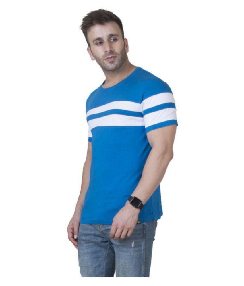 Veirdo 100 Percent Cotton Blue Color Block T-Shirt