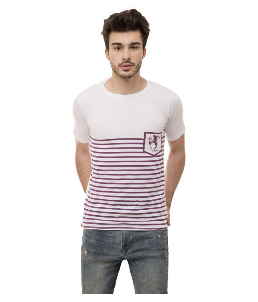 Ample Cotton Blend White Striper T-Shirt