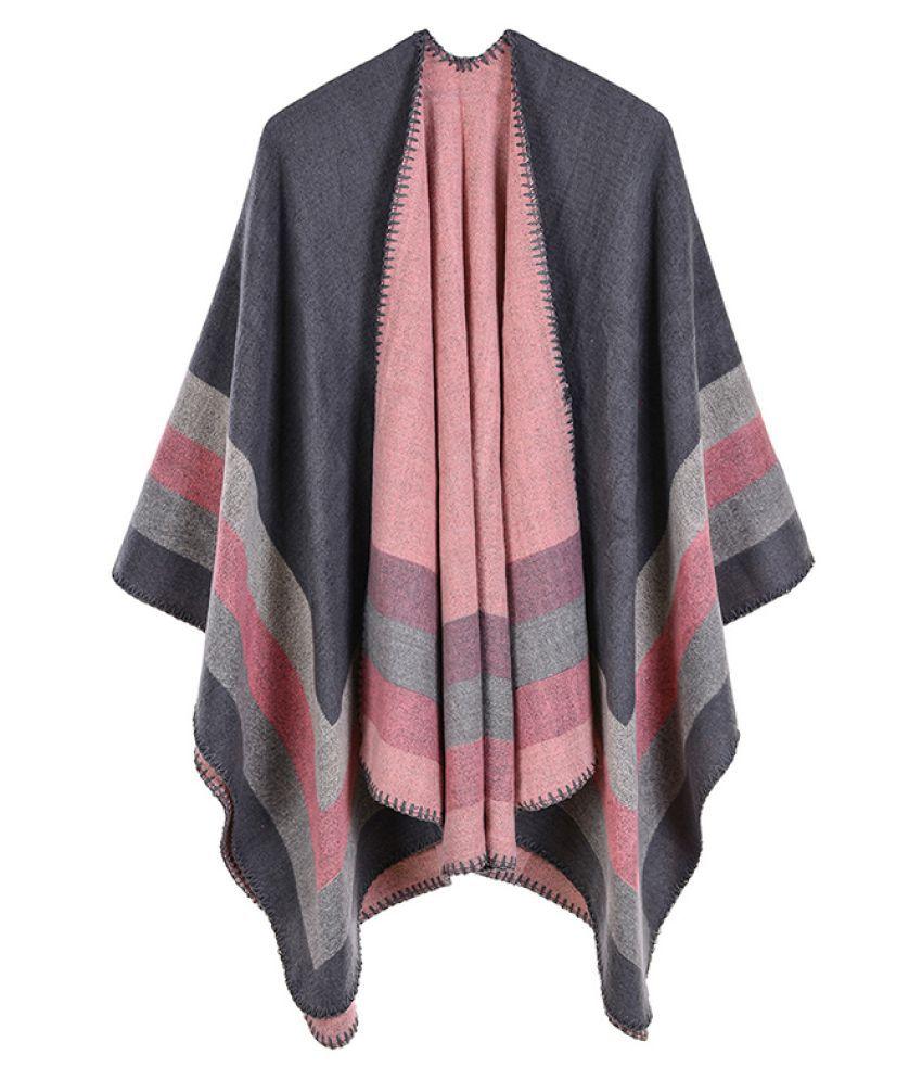 Fashion Women Faux Cashmere Poncho Cardigan Striped Print