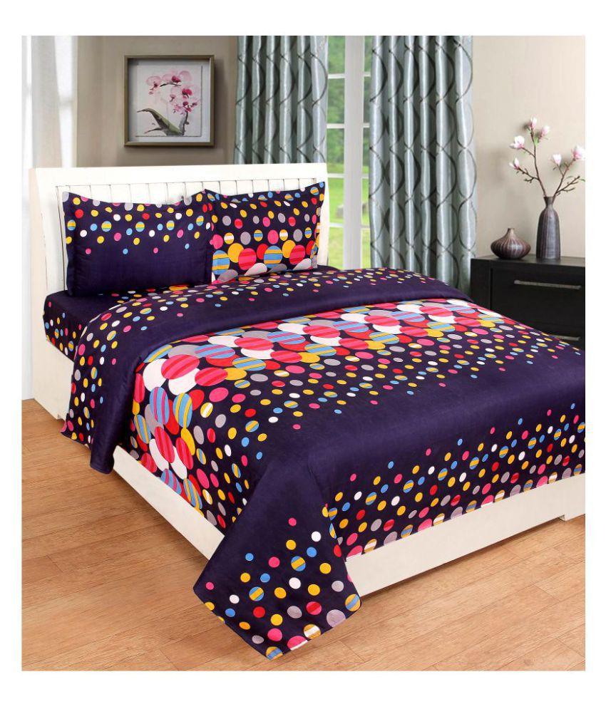 KTB TRENDS Cotton Double Bedsheet with 2 Pillow Covers