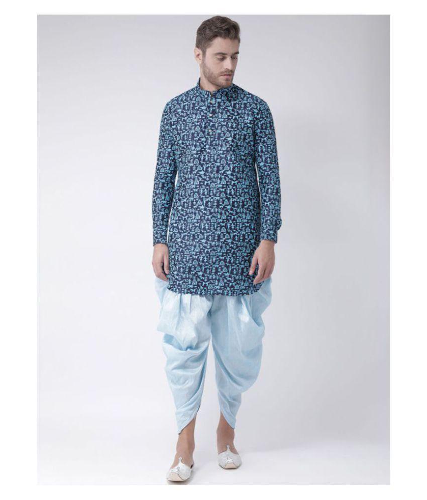 Deyann Blue Silk Blend Kurta Pyjama Set