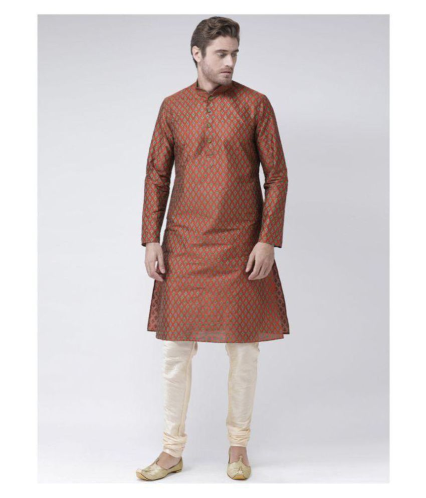 Deyann Orange Silk Blend Kurta Pyjama Set