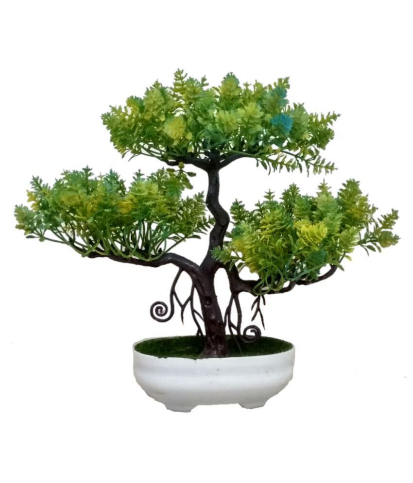 BkMart Wild Artificial Plant with Pot Green Bonsai Plastic   Pack of 1