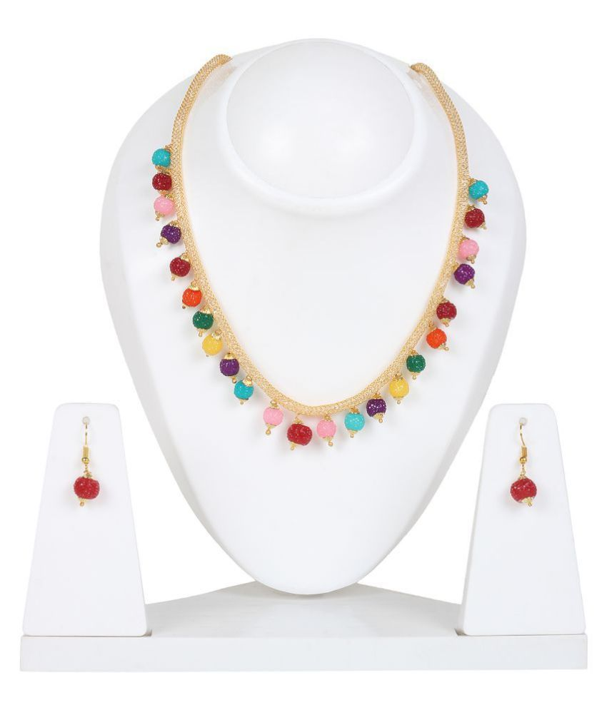 Penny Jewels Alloy Multi Color Long Haram Traditional Gold Plated Necklaces Set