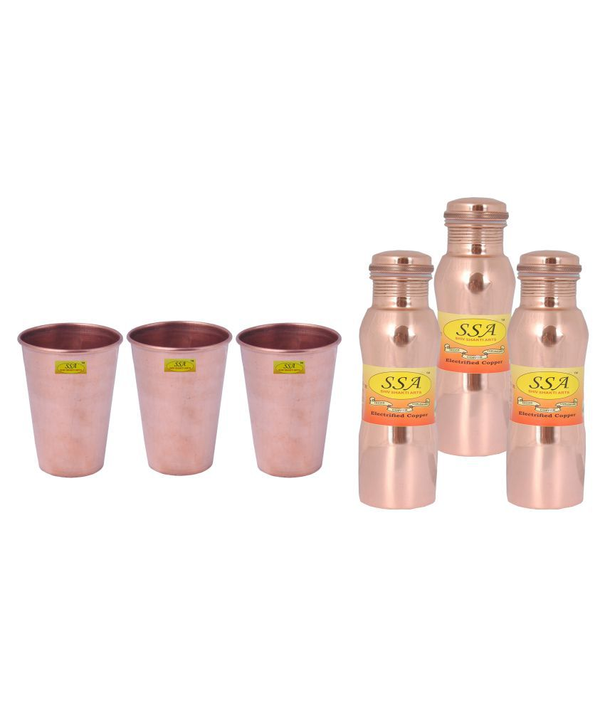 Shiv Shakti Arts Bottle & Glasses Set 3 Pcs Lemon set