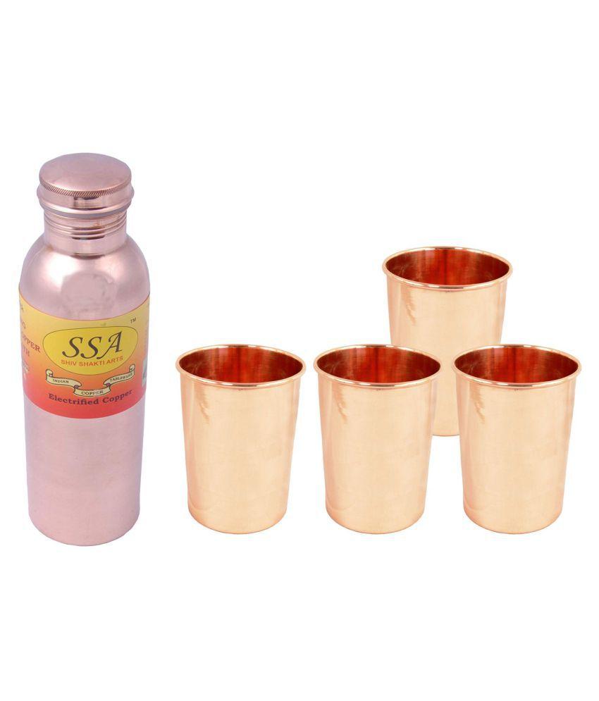 Shiv Shakti Arts Bottle & Glasses Set 4 Pcs Lemon set