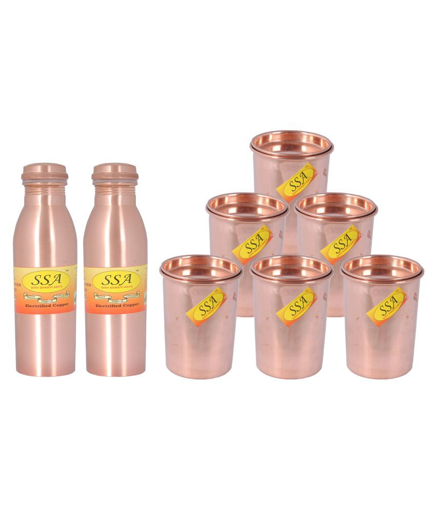 Shiv Shakti Arts Bottle & Glasses Set 6 Pcs Lemon set