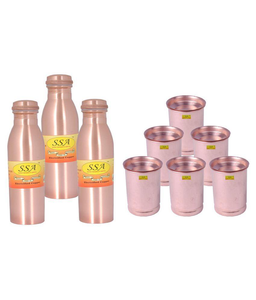 Shiv Shakti Arts Bottle & Glasses Set 6 Pcs Lemon set