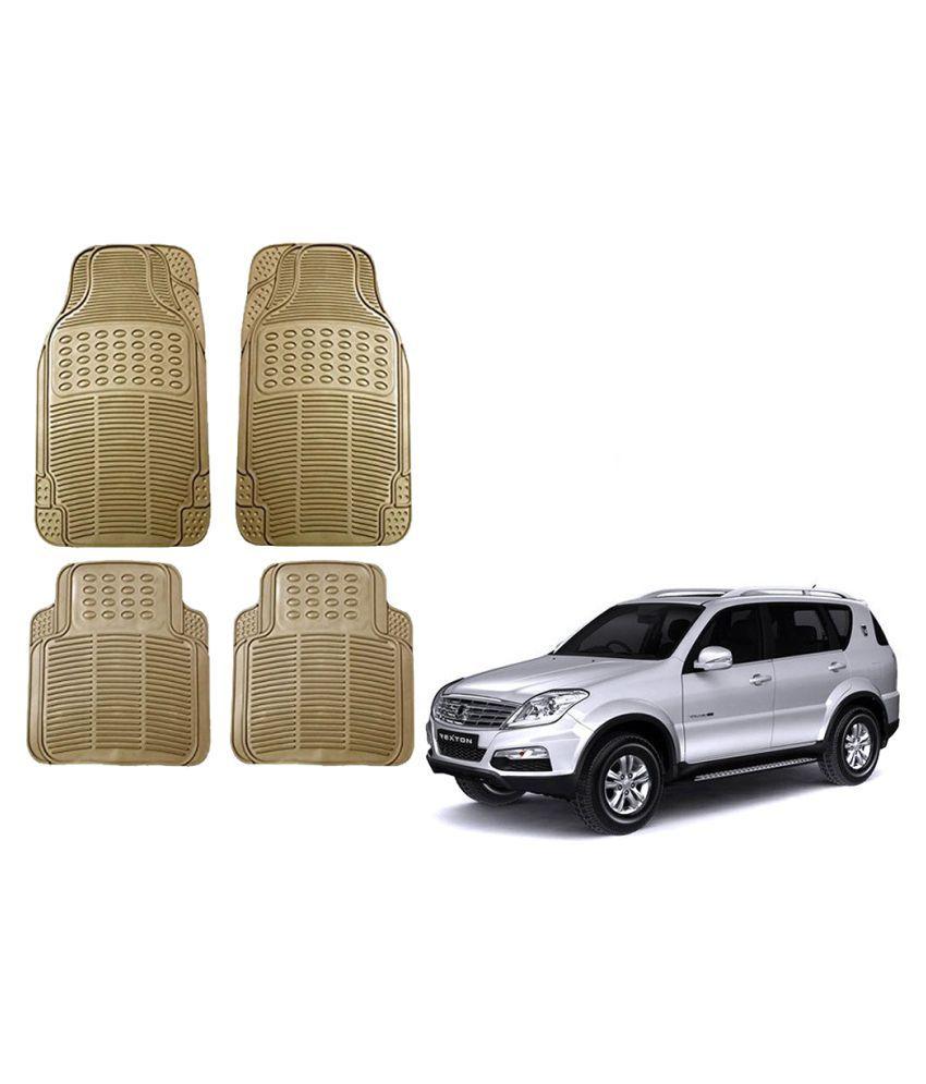 Auto Addict Car Simple Rubber Beige Mats Set of 4Pcs For Mahindra Rexton