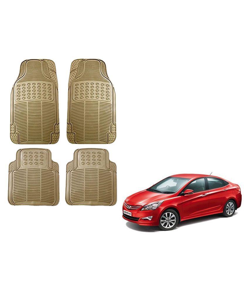 Auto Addict Car Simple Rubber Beige Mats Set of 4Pcs For Hyundai Fluidic Verna 4s