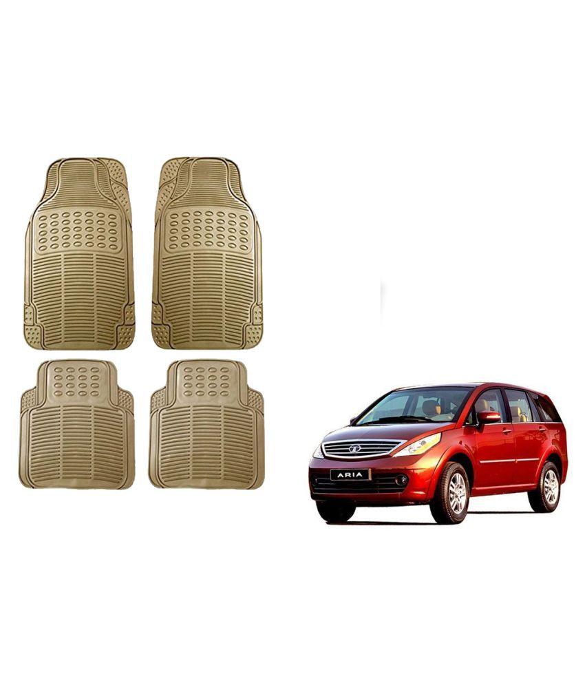 Auto Addict Car Simple Rubber Beige Mats Set of 4Pcs For Tata Aria