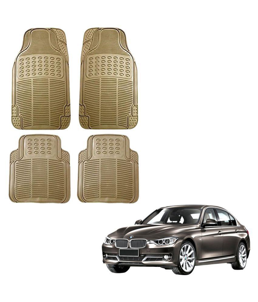 Auto Addict Car Simple Rubber Beige Mats Set of 4Pcs For BMW 3 Series