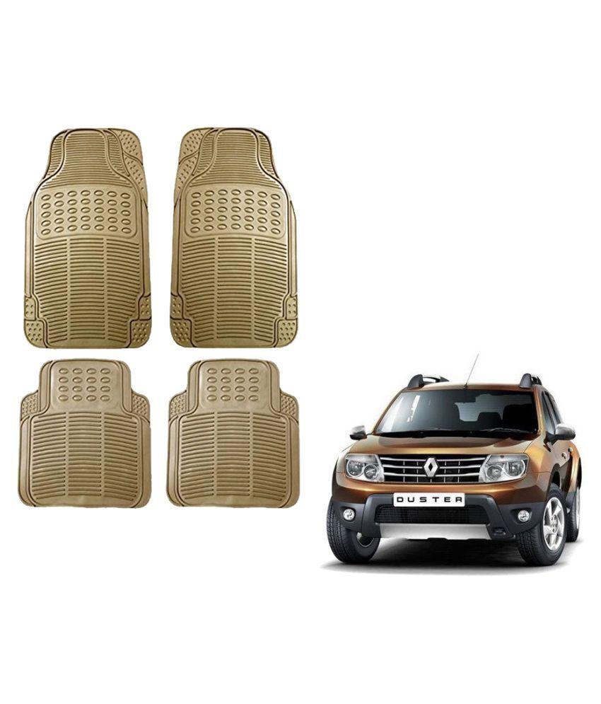 Auto Addict Car Simple Rubber Beige Mats Set of 4Pcs For Renault Duster
