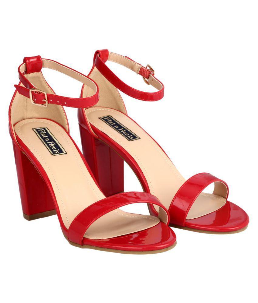 Flat N Heels Red Block Heels