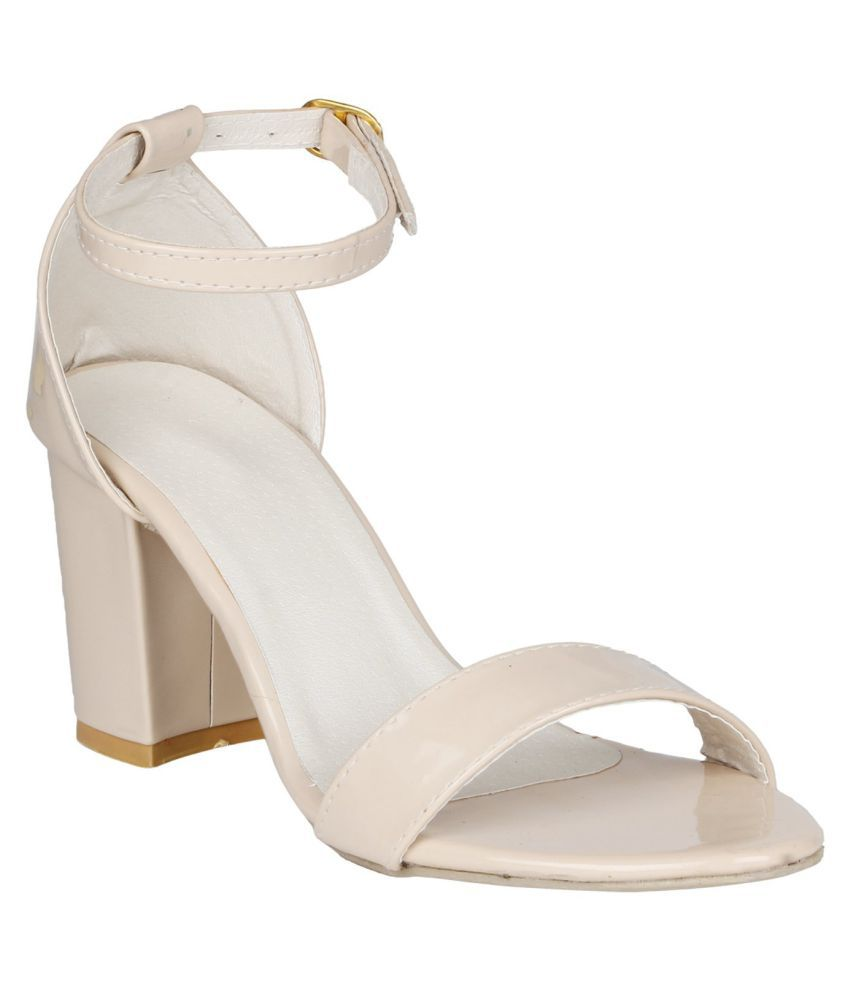 SHOPIEE Cream Block Heels
