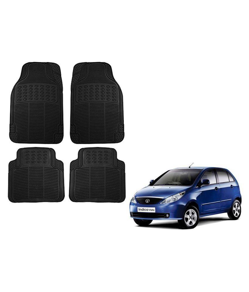 Auto Addict Car Simple Rubber Black Mats Set of 4Pcs For Tata Indica Vista