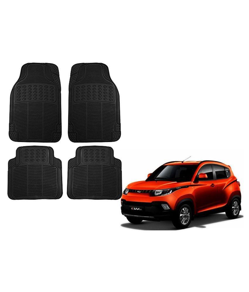 Auto Addict Car Simple Rubber Black Mats Set of 4Pcs For Mahindra KUV 100