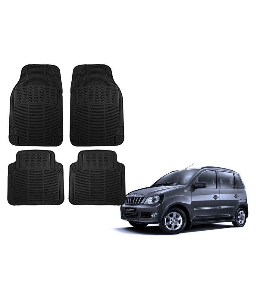Auto Addict Car Simple Rubber Black Mats Set of 4Pcs For Mahindra Quanto