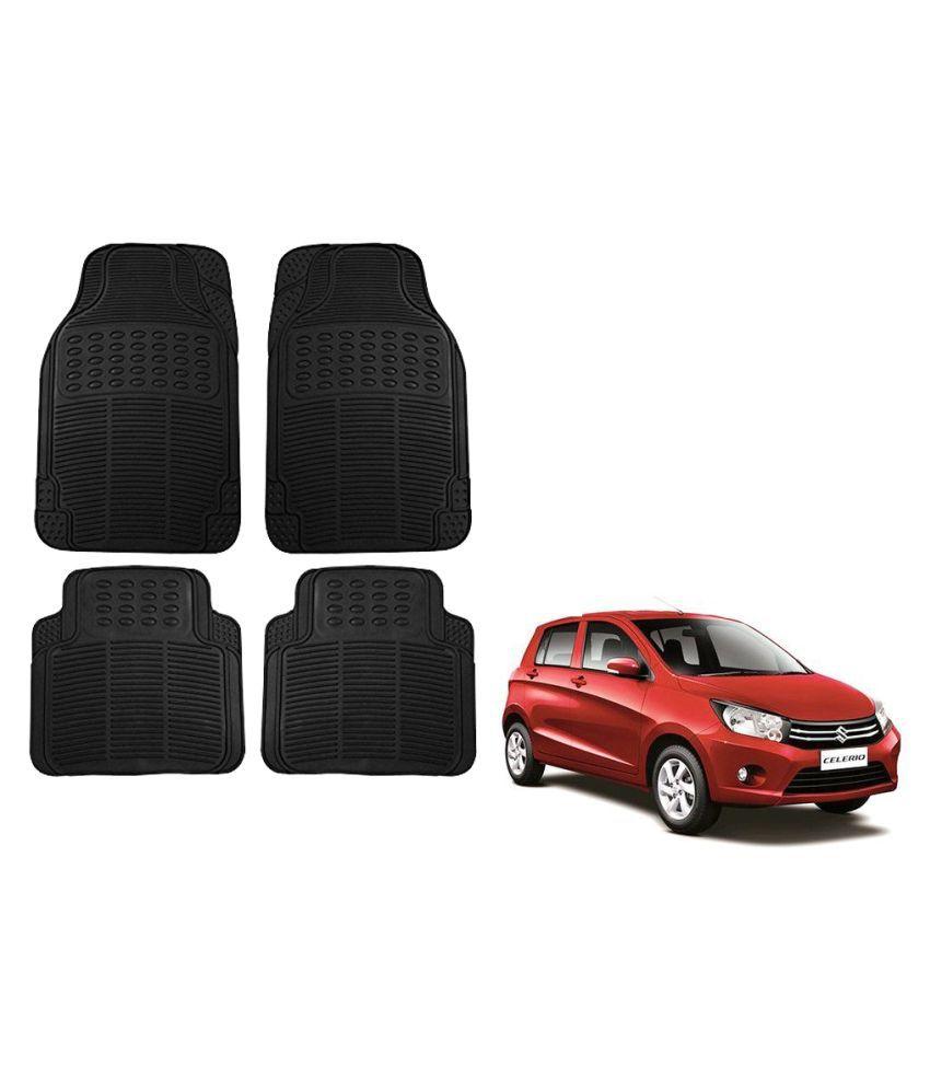 Auto Addict Car Simple Rubber Black Mats Set of 4Pcs For Maruti Suzuki Celerio