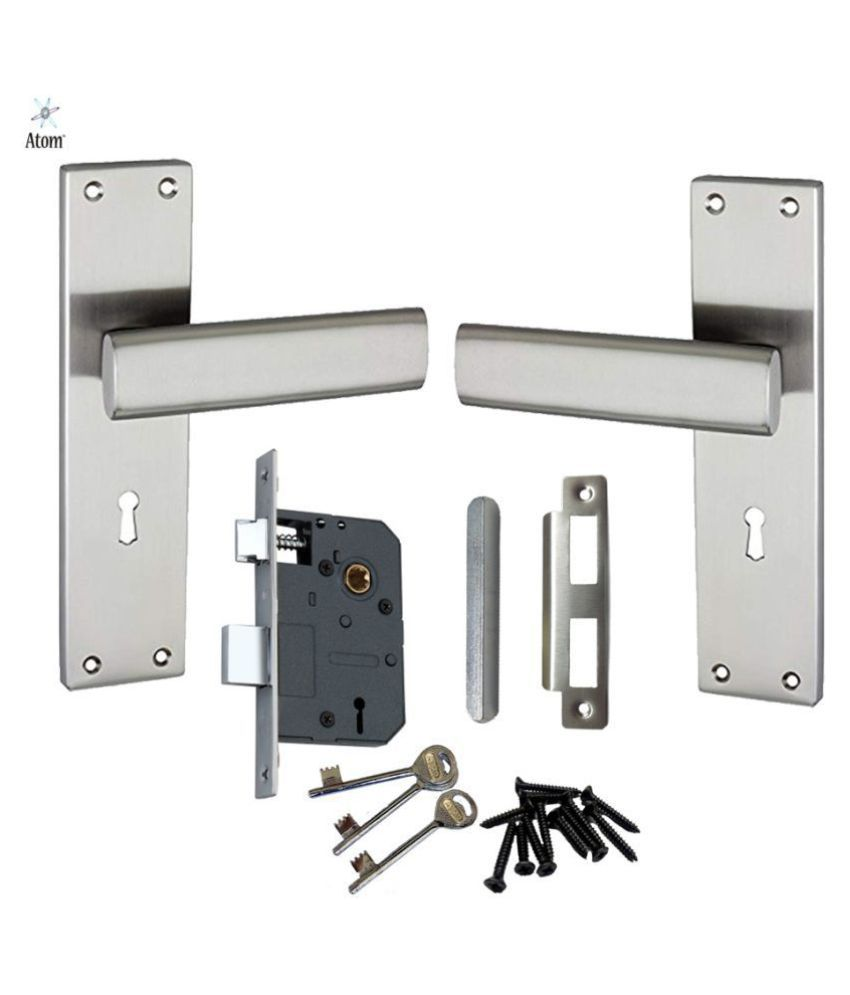 Atom Mortise Door Lock G-9 K.Y. 8 Inch Mortice Handle Pair in Satin Finish with Legend 65 mm Brass Dead Bolt Double Action 6 Lever Lock.