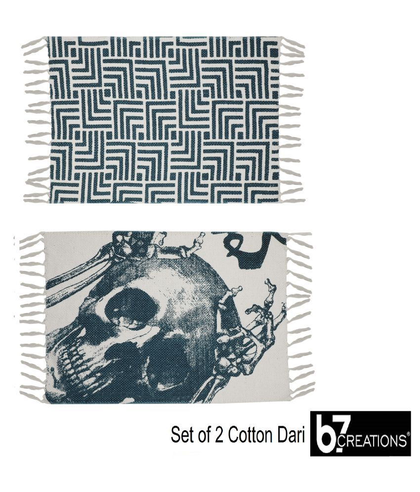 B7 CREATIONS Aqua Set of 2 Anti-skid Floor Mat