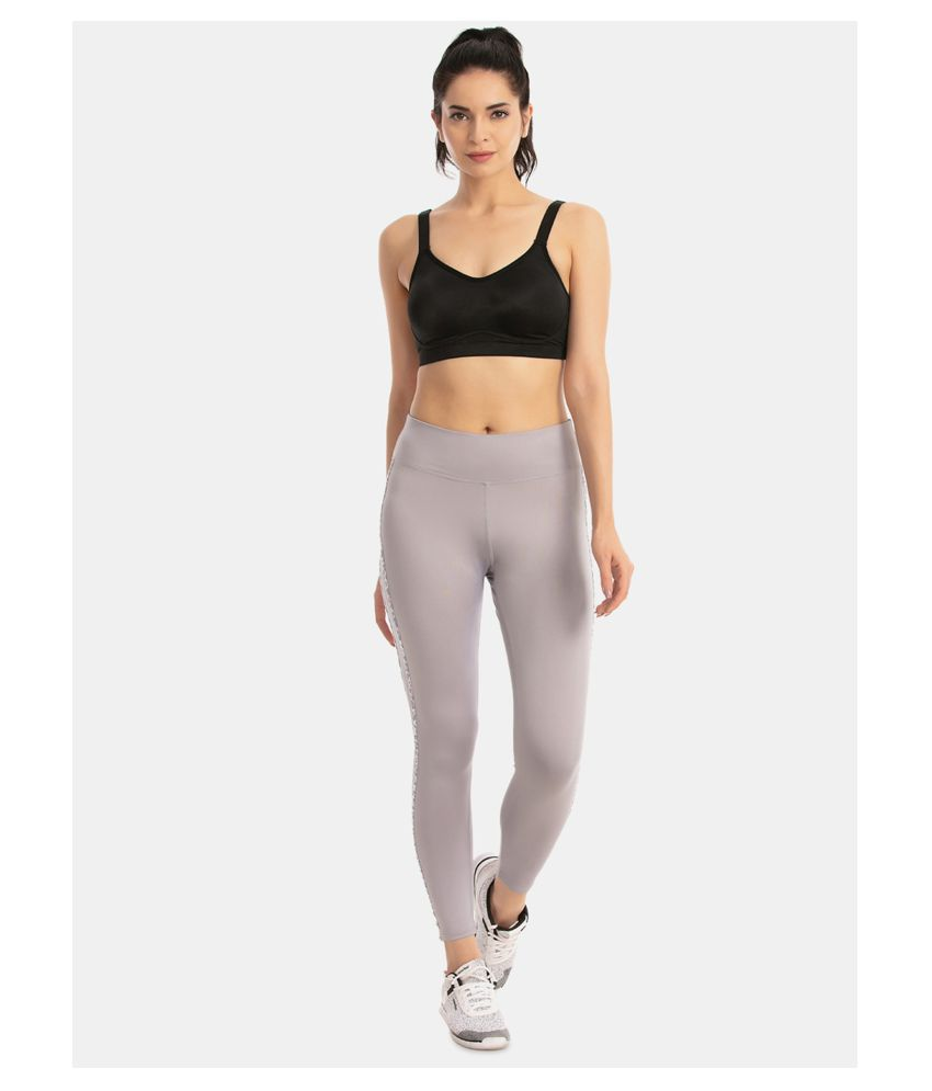 Zelocity Grey Polyester Solid Tights