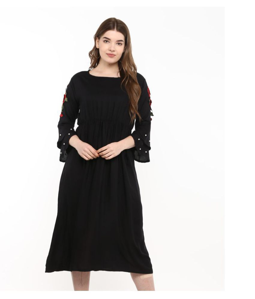 Ants Rayon Black Regular Dress