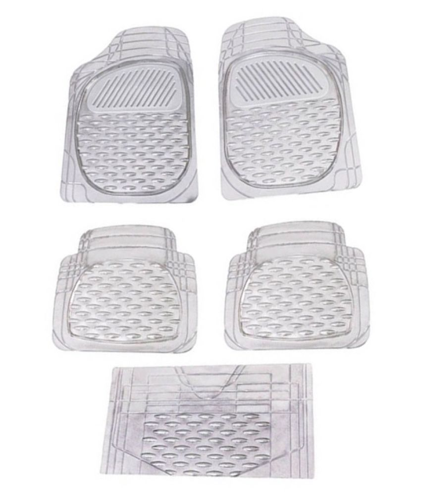 Autofetch Car Floor/Foot Mats (Set of 5) Transparent White for Maruti Swift 2017