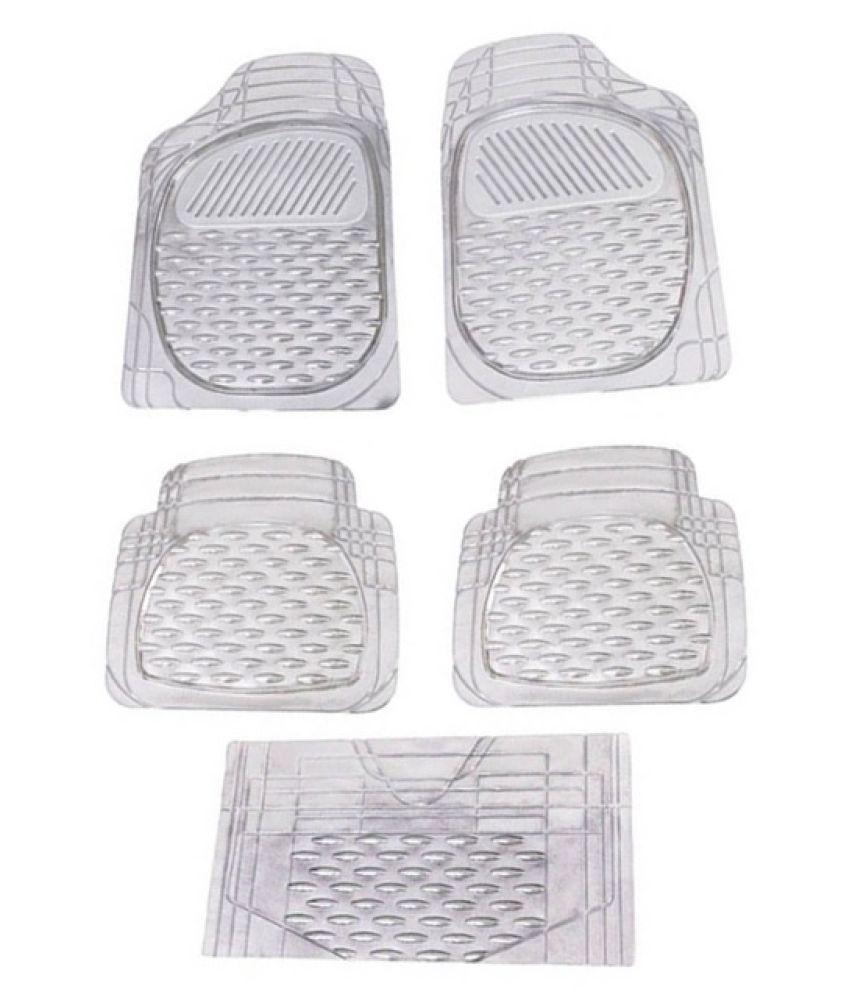 Autofetch Car Floor/Foot Mats (Set of 5) Transparent White for Maruti Vitara Brezza
