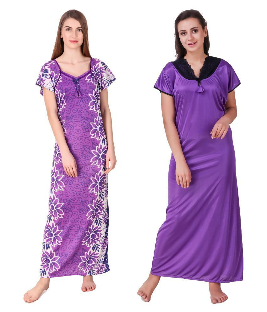 Lezaira Satin Night Dress - Multi Color