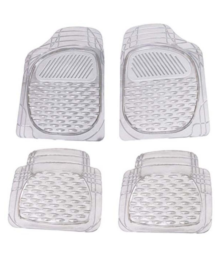 Autofetch Car Floor/Foot Mats (Set of 4) Transparent White for Skoda New Rapid