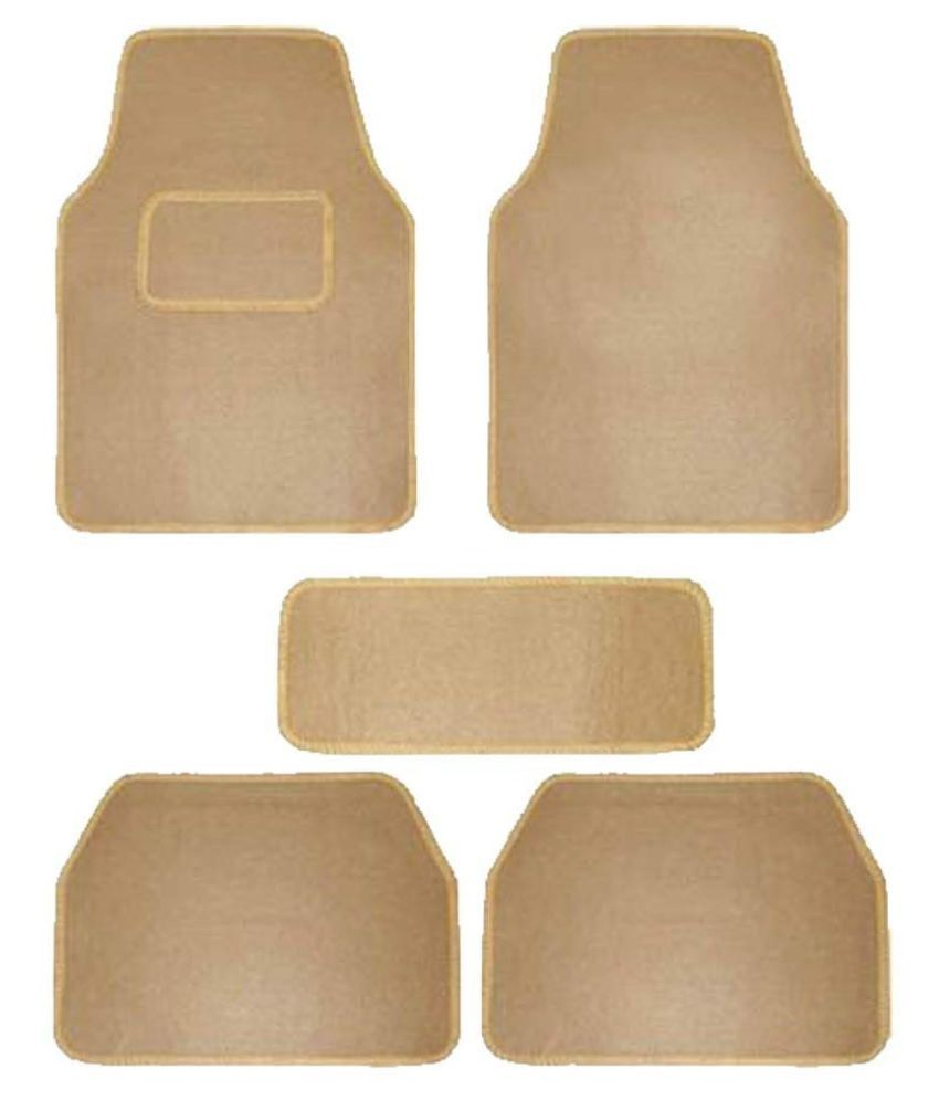 Autofetch Carpet Car Floor/Foot Mats (Set of 5) Beige for Tata Nano
