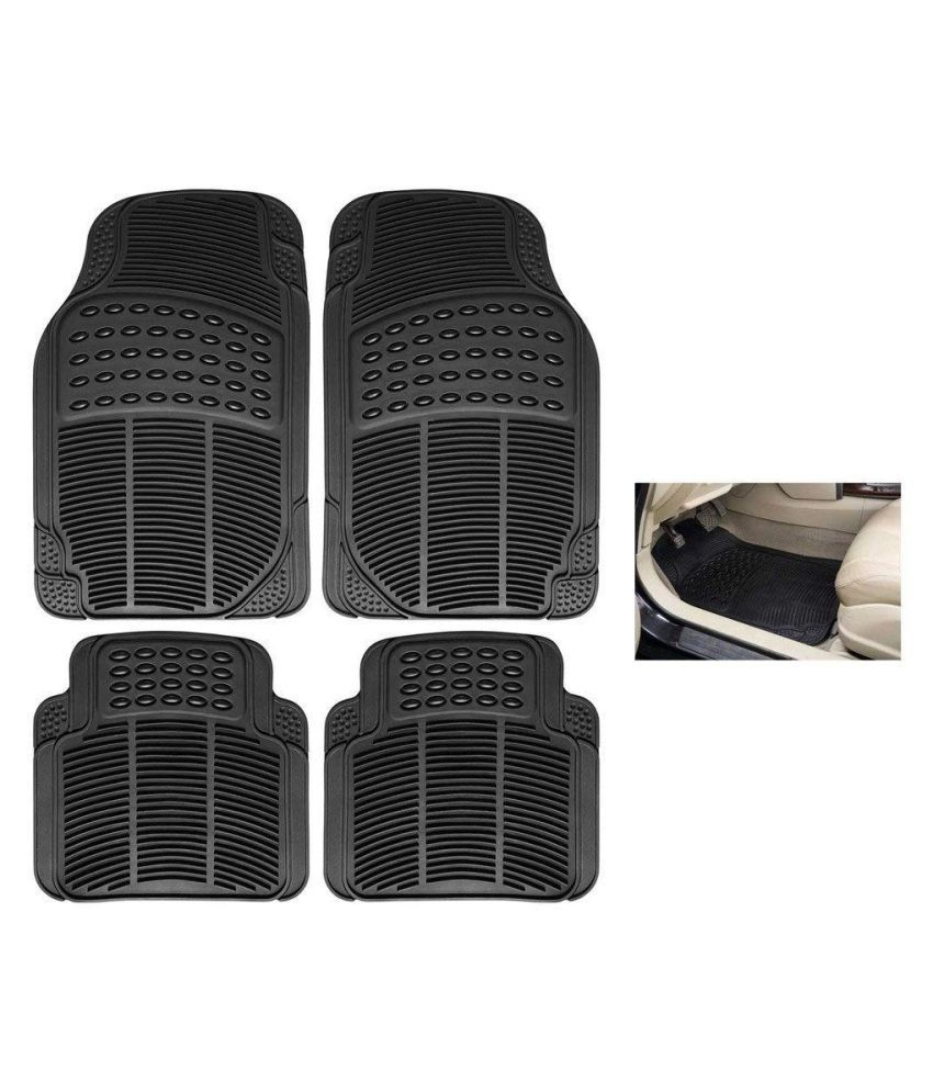 Autofetch Rubber Car Floor/Foot Mats (Set of 4) Black for Renault New Kwid