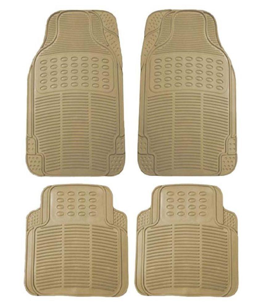 Autofetch Rubber Car Floor/Foot Mats (Set of 4) Beige for Chevrolet Beat (2009-2014)