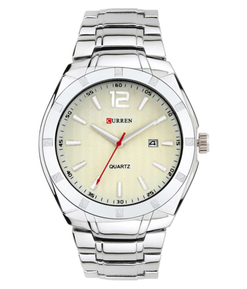 Curren 8103 PNP White Stainless Steel Analog Men #039;s Watch