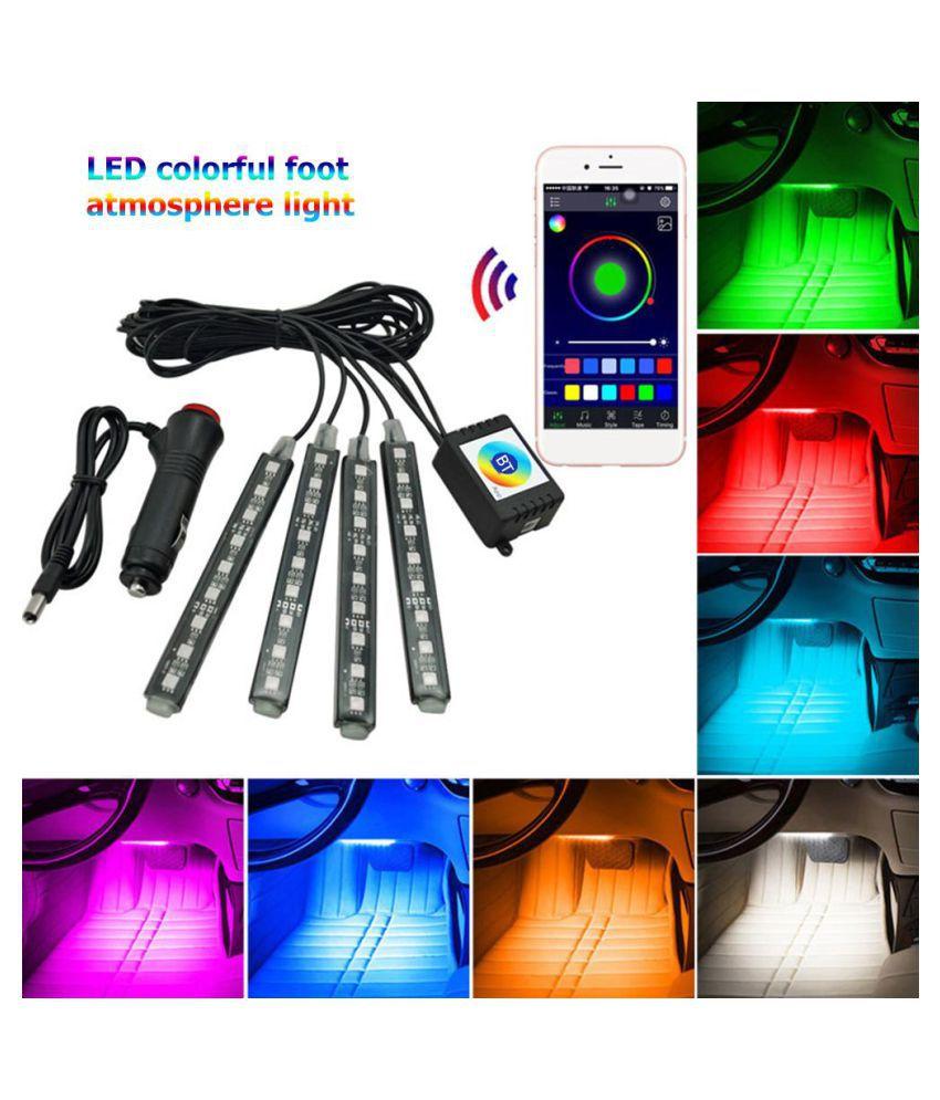SMD5050 RGB LED Flexible Light Strip Bluetooth Car Interior Footwell Lamp Decor