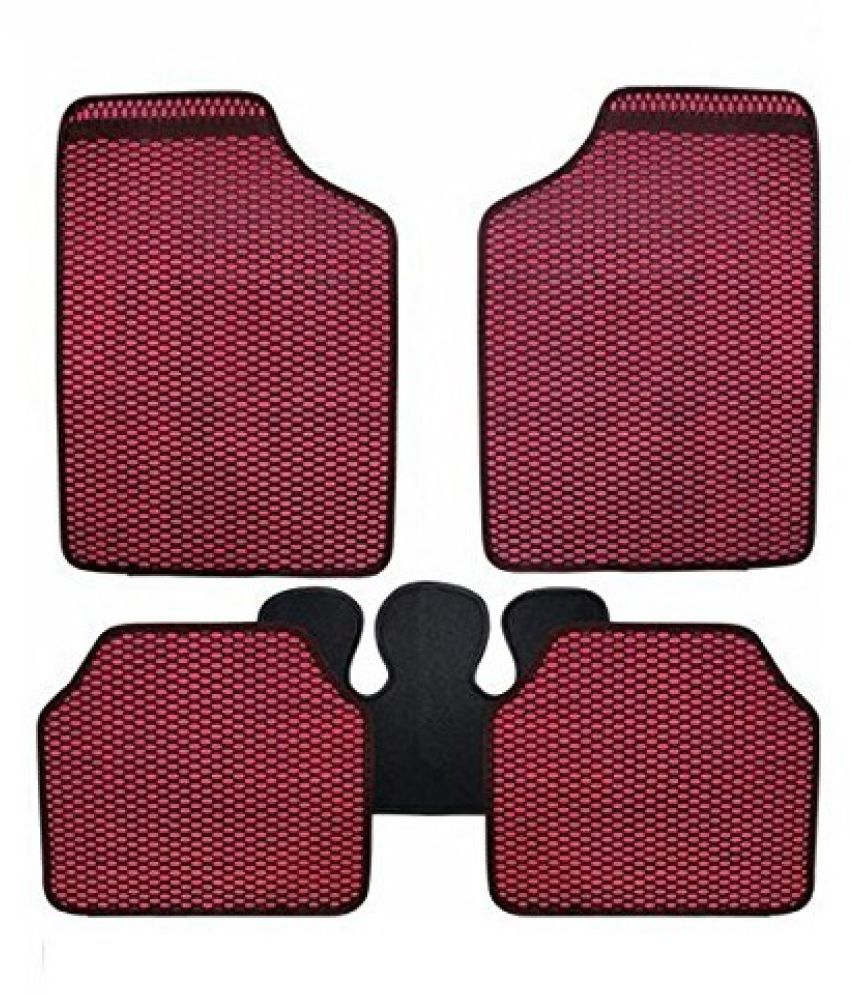 Autofetch Car Eclipse Odourless Floor/Foot Mats (Set of 5) Red for Toyota Etios