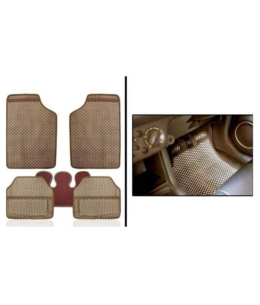 Autofetch Car Eclipse Odourless Floor/Foot Mats (Set of 5) Beige for Chevrolet Aveo UVA