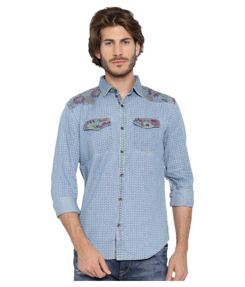 WITH 100 Percent Cotton Blue Prints Shirt