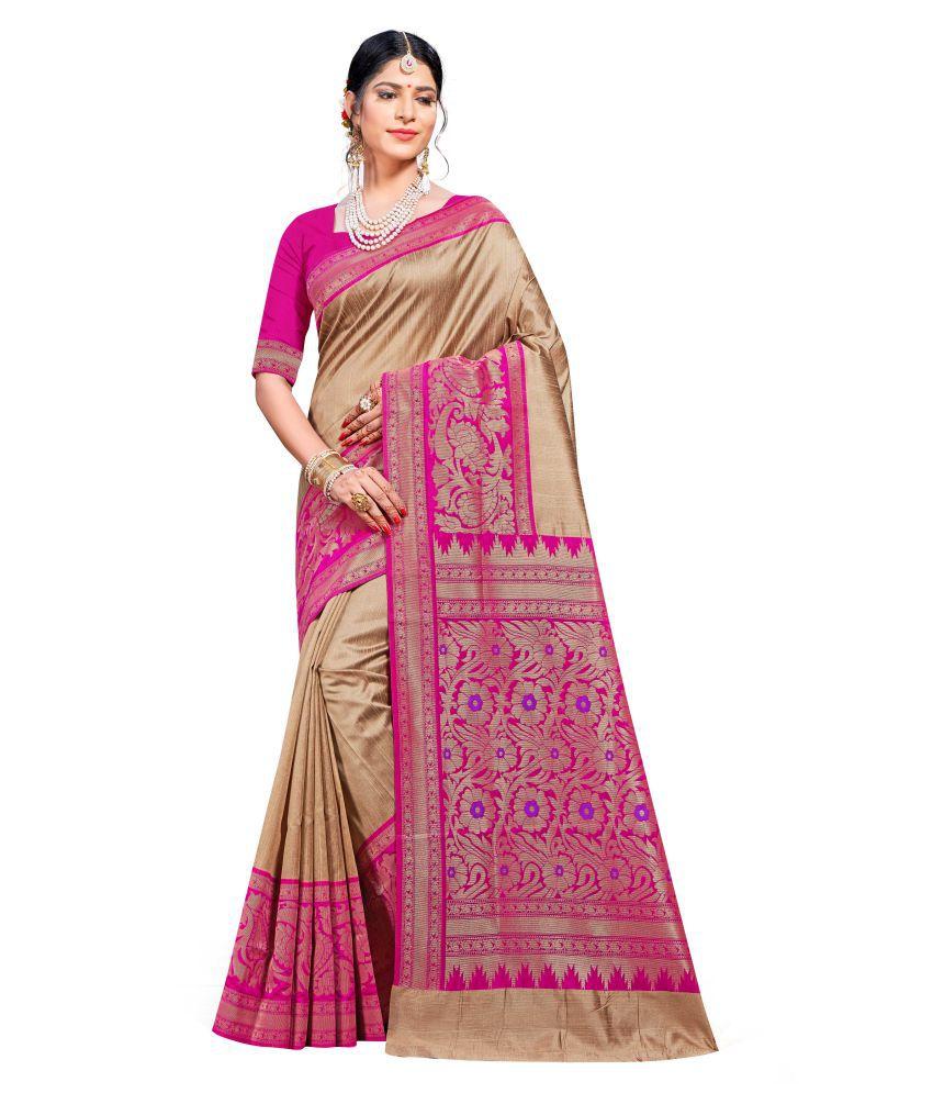 Maroosh Beige Banarasi Silk Saree