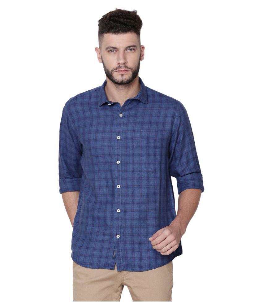 Linen Club Linen Blue Checks Shirt