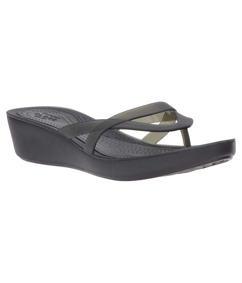 Crocs Black Wedges Heels